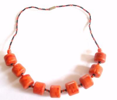 Vintage 1970's Genuine Reconstituted Coral Beads Beaded Black Necklace