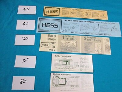 Set of Battery Cards for Five Classic Hess Toy Trucks