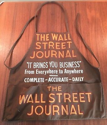 VINTAGE 1930's WALL STREET JOURNAL CANVAS NEWSPAPER CARRIER APRON NYC
