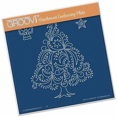 CLARITY STAMP GROOVI Parchment 148mm Embossing Plate CHRISTMAS TREE ANGEL STAR
