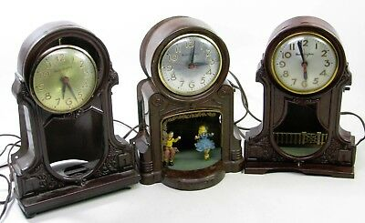 Lot Of 3 Vintage Mastercrafters Electric Novelty Shelf Clocks Parts Repair