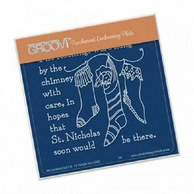 CLARITY STAMP GROOVI Parchment A6 Embossing Plate TWAS THE NIGHT 02 Stockings