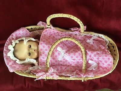 Sweet vintage 1968 Effanbee Doll in Her Own Moses Basket...so Cute!