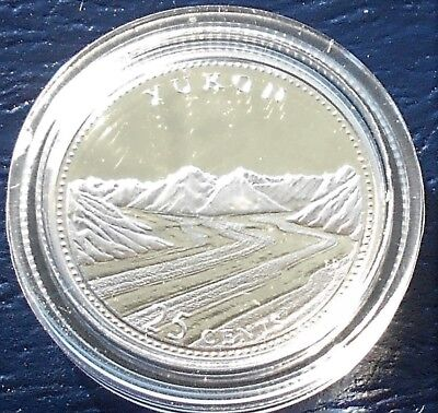 ".925 Silver 1992 Canada ""Yukon"" 25 Cents KM#220a Gem Proof in Capsule Nice #PB10"