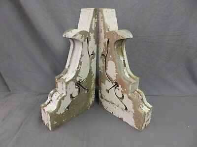 Large Pair Antique Corbels Roof Brackets Victorian Shabby Shelf Vtg Chic 526-17P