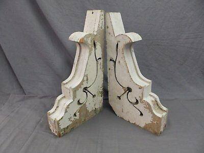 Large Pair Antique Corbels Roof Brackets Victorian Shabby Shelf Vtg Chic 527-17P