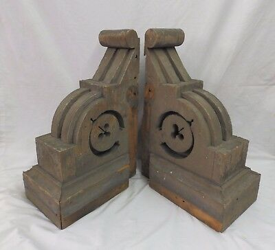 Large Pair Antique Shabby Wood Victorian Corbels Roof Brackets Vtg Chic 529-17P