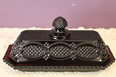 Avon Covered Butter Dish - Ruby Red 1876 Cape Cod Collection
