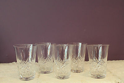 Set Of 5 Beautiful Cut Crystal Juice Glasses Hobstar