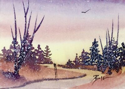 ACEO Original Art Watercolour Painting by Bill Lupton - A Winter Sky