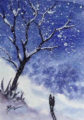ACEO Original Art Watercolour Painting by Bill Lupton  - Winter Love
