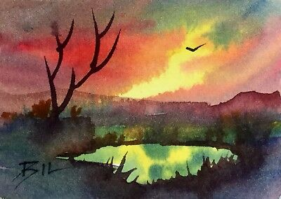 ACEO Original Art Watercolour Painting by Bill Lupton - Red Sky