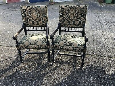 French Ebonised  Matching Pair Of Ornate Carver Chairs