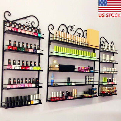 From US 5 Tier Nail Polish Cosmetics Display Shelf Wall Rack Stand Storage Metal