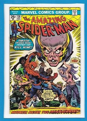 """Amazing Spider-Man #138_Nov 1974_Fine_""""madness Means The Mindworm""""!"""