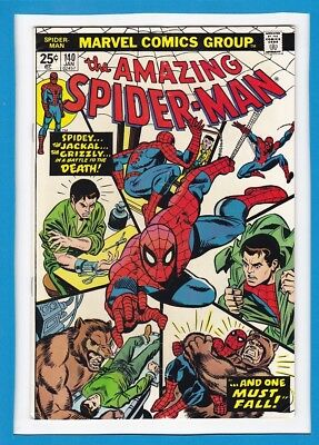 """Amazing Spider-Man #140_Jan 1975_Fine Minus_Jackal_Grizzly_""""and One Must Fall""""!"""