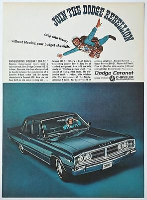 1966 DODGE Coronet 500 SE V8 Print Ad- Join the Dodge Rebellion- Sky Diving