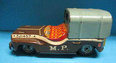 NOMURA VINTAGE 50s 321457 MILITARY POLICE JEEP FRICTION TIN TOY MADE IN JAPAN