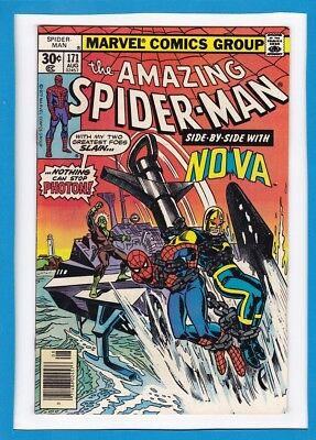 """Amazing Spider-Man #171_August 1977_Very Fine Minus_""""side-By-Side With Nova""""!"""
