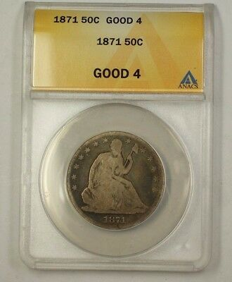 1871 Seated Liberty Silver Half Dollar 50c Coin ANACS G-4