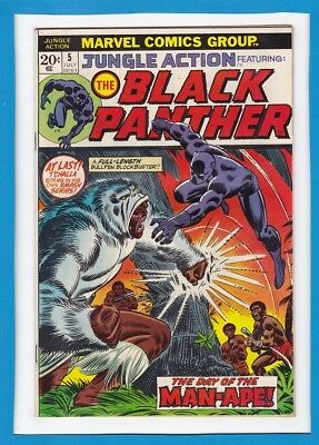 """JUNGLE ACTION #5_JULY 1973_G/VG_1st BLACK PANTHER IN TITLE_""""DAY OF THE MAN-APE""""!"""