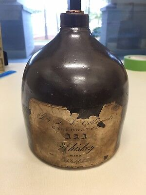 Extremely Rare pre1900 Paper Label Whiskey Jug Philadelphia. AAA WHISKEY