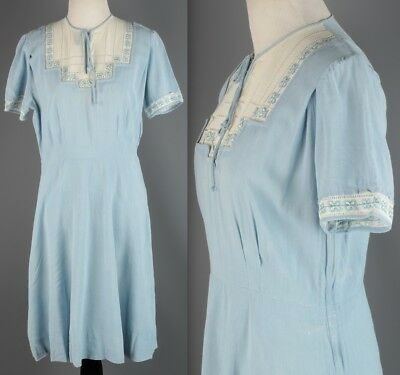 VTG 1930s 1940s Women's Blue & White Cotton Linen Sheath Dress #1895 30s 40s