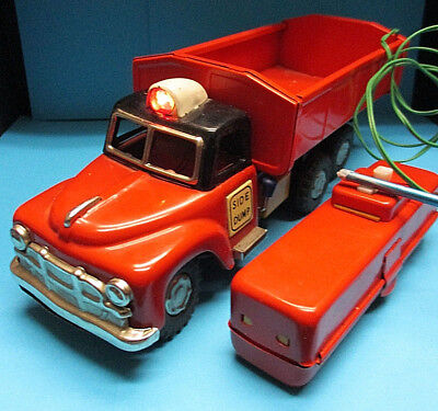 Skk Toys Side Dump Red Truck Vintage 1952 B/o Sinsei Tin Toy Made In Japan Exc