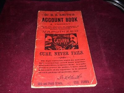 1893 Dr. B. A. Smith's Account Book a present from Vaporized Catarrh Erie PA