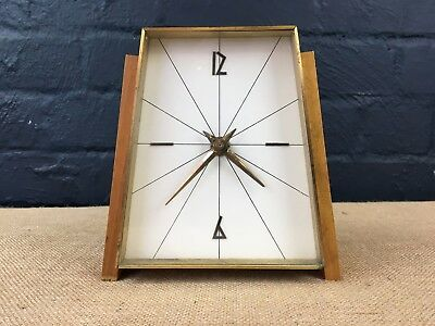 Vintage Retro Mid Century Kienzle Brass & Wood Modernist Mantel Clock