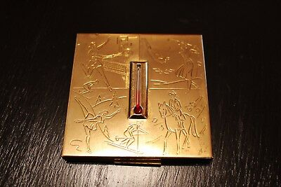 Rare Collectible 1940s 'Elgin American' Sports Themed Thermometer Powder Compact