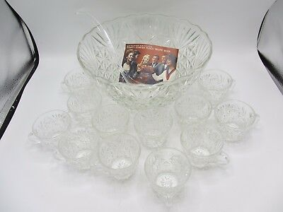 26 Pc VINTAGE ARLINGTON GLASS PUNCH BOWL SET BY ANCHOR HOCKING W BOX