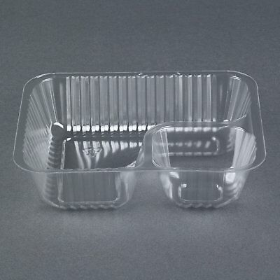 (50 Pack) Clear 2 Compartment Plastic Nacho Chip/Dip Tray, Small, NO TAX
