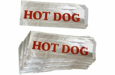 Outside the Box Papers Printed Foil Hot Dog Bags 75 Pack Silver, Red