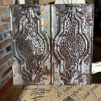 "12"" Antique Tin Ceiling Tile -- Rusty Bare Metal - Pretty Design - A1"