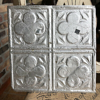 """12"""" Antique Tin Ceiling Tile -- Silver Paint --- Abstract Clover Design"""