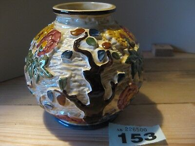 Indian Tree Hand Painted Ball Vase  H.J. Wood Staffordshire, England Floral