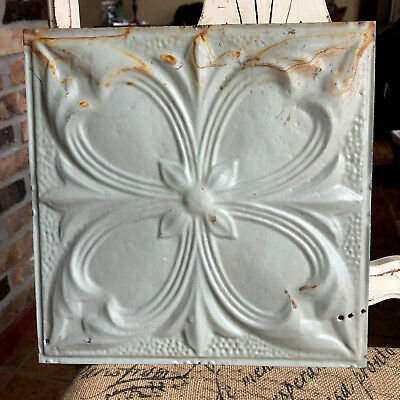 "12"" Antique Tin Ceiling Tile - Garyish Green Colored Paint - Large Flower - A2"