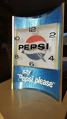 "Pepsi wall or stand up Clock Work great 14"" by 11"" 5"""