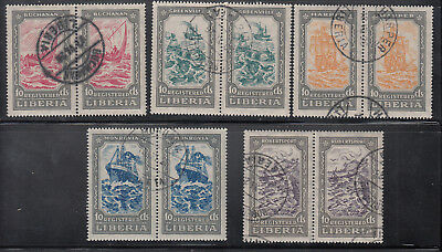 Liberia # F30-34 Pairs Complete 1924 Registration Set Ship
