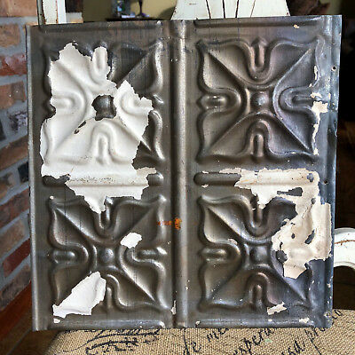 "12"" Antique Tin Ceiling Tile - Bare Metal - Small Flower Design"