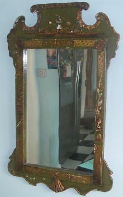 GEORGE II CHINOISERIE MIRROR c 1750-60 GREEN LACQUERED HAND CARVED & PAINTED