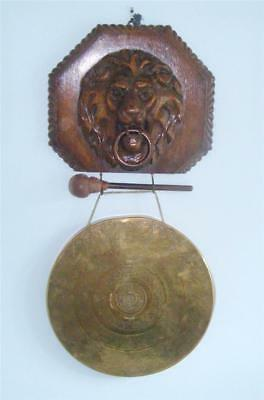 """ANTIQUE GONG LARGE 12"""" BRASS CARVED OAK LION HEAD c 1900 WALL MOUNTED"""