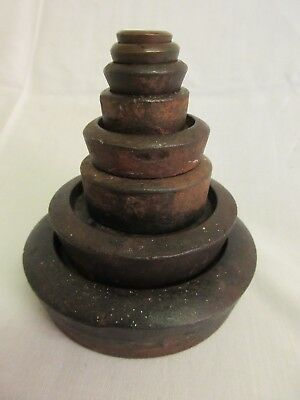 Set of 8 Vintage Metal Weights for Traditional Scales