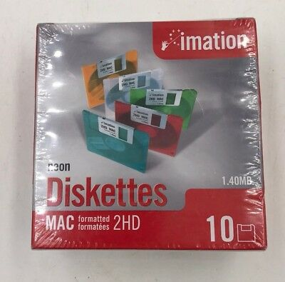 "Imation Neon MAC Formatted 2 HD 1.4 MB 3.5"" Diskettes 10 NEW NIB Computer Sealed"