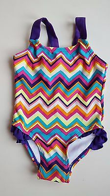 TU baby girl 9-12 months purple pink yellow multi one piece swimming costume