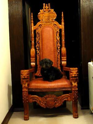 Large Carved Wooden Throne Armchair. Medieval Royal King, Queen Castle  Seat