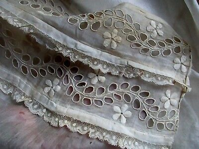 Antique Victorian Edwardian Sheerest Batiste Broderie Embroidery Tiny Lace Trim