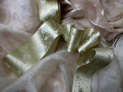 Delicate Antique French Victorian Silk Damask Rose Wedding Trousseau Ribon Trim