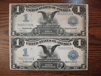"Pair (2) 1899 US Large $1 Silver Certificates ""Black Eagles"". Very Good & Fine."